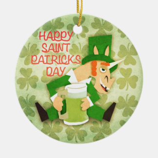 Happy Saint Patrick's Day Ceramic Ornament