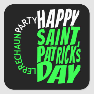 Happy Saint Patrick's Day Beer Mug Square Sticker
