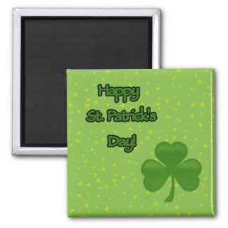 Happy Saint Patrick's Day, Clovers - Green 2 Inch Square Magnet