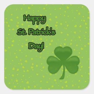 Happy Saint Patrick's Day, Clovers - Green Square Sticker