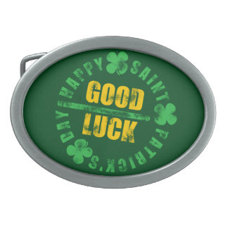 Happy Saint Patricks Day Good Luck Oval Belt Buckle