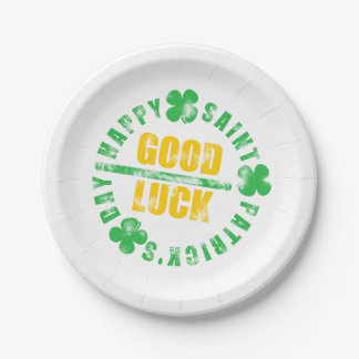 Happy Saint Patricks Day Good Luck Paper Plate