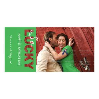 Happy Saint Patricks Day Green So Lucky Cutout Card