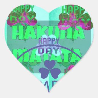 Happy Saint Patrick's Day Hakuna Matata Heart Sticker