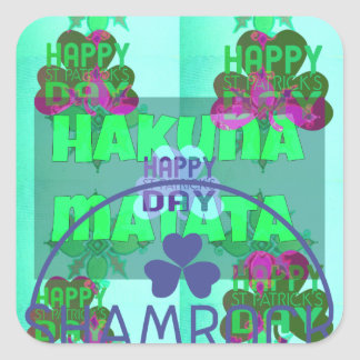 Happy Saint Patrick's Day Hakuna Matata Square Sticker