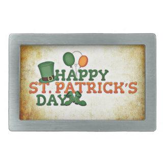 Happy Saint Patricks Day Rectangular Belt Buckles