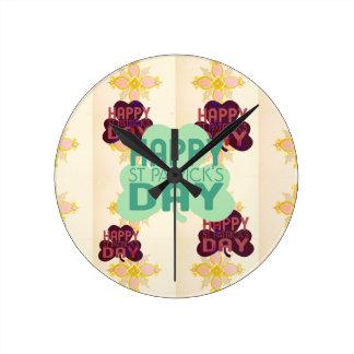 Happy Saint Patrick's Day Round Clock