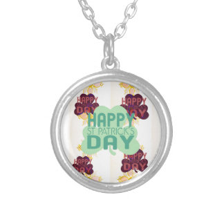 Happy Saint Patrick's Day Silver Plated Necklace