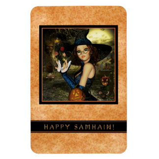 Happy Samhain Cute Autumn Witch Flexi Magnet