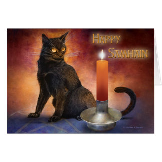 Happy Samhain Kitten and Candle. Greeting Card