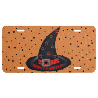 Happy Samhain Witch Hat Stars Magic Wiccan License Plate