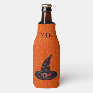Happy Samhain Witch Hat Stars Magic Wiccan Bottle Cooler