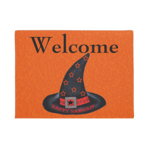 Happy Samhain Witch Hat Stars Magic Wiccan Welcome Doormat