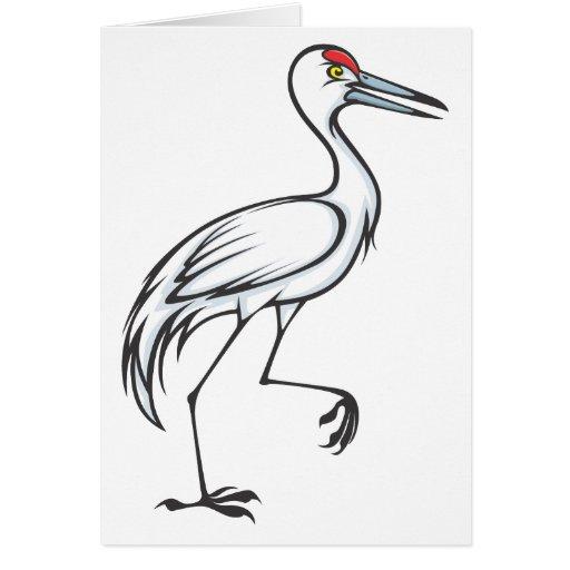 Happy Sandhill Crane Bird Greeting Cards