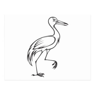Happy Sandhill Crane Bird in Black and White Postcard