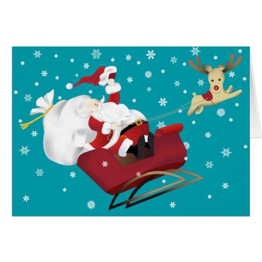 Happy Santa and Reindeer Christmas Greeting Card