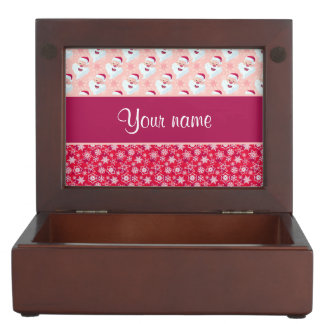 Happy Santa and Snowflakes Personalized Keepsake Box
