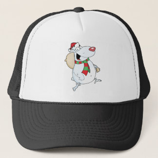 Happy Santa Bear Runs With Bag Trucker Hat