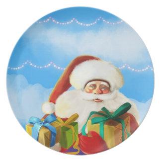 happy santa cartoon Plate