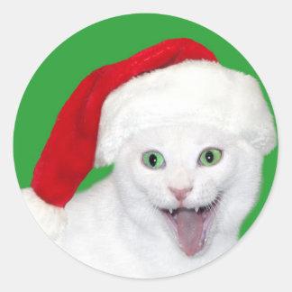 Happy Santa Cat Round Sticker