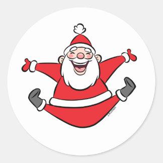 Happy Santa Christmas Cards Classic Round Sticker