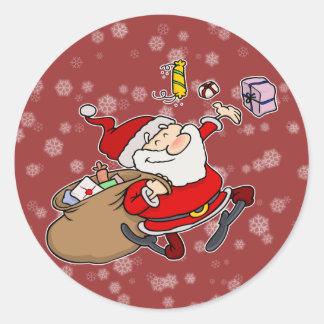Happy Santa Classic Round Sticker