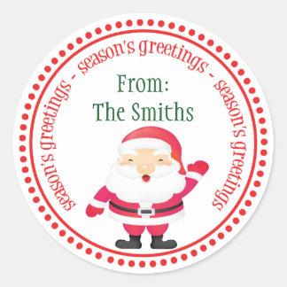 Happy Santa Claus Dot Circle Labels Sticker
