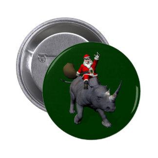 Happy Santa Claus On Rhino Rhinoceros Pin