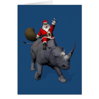 Happy Santa Claus On Rhino Rhinoceros Greeting Card