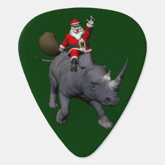 Happy Santa Claus On Rhino Rhinoceros Guitar Pick
