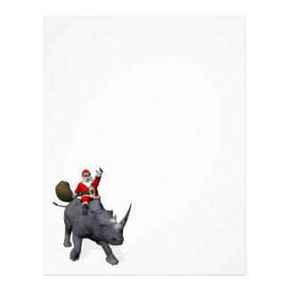Happy Santa Claus On Rhino Rhinoceros Letterhead Template