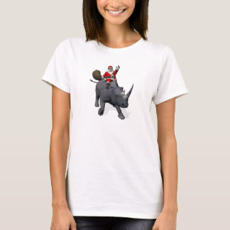 Happy Santa Claus On Rhino Rhinoceros T-Shirt