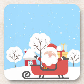 Happy Santa Claus on Sled in Snow Coaster