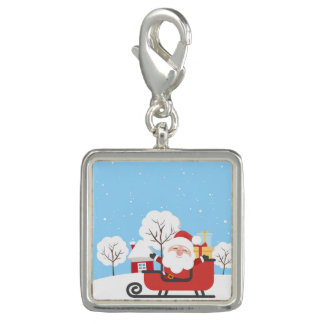 Happy Santa Claus on Sled in Snow Photo Charm