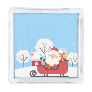 Happy Santa Claus on Sled in Snow Silver Finish Lapel Pin