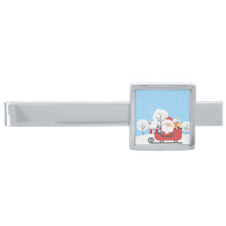 Happy Santa Claus on Sled in Snow Silver Finish Tie Bar