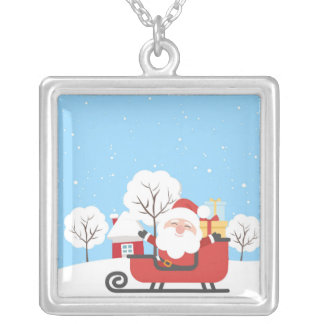Happy Santa Claus on Sled in Snow Silver Plated Necklace