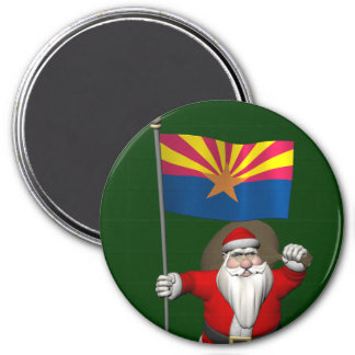 Happy Santa Claus On The Way To Arizona 3 Inch Round Magnet