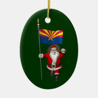 Happy Santa Claus On The Way To Arizona Ceramic Ornament