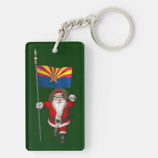 Happy Santa Claus On The Way To Arizona Keychain