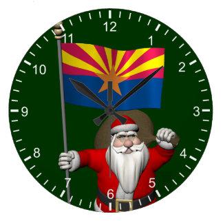 Happy Santa Claus On The Way To Arizona Large Clock
