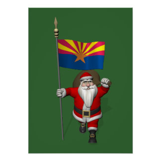 Happy Santa Claus On The Way To Arizona Poster