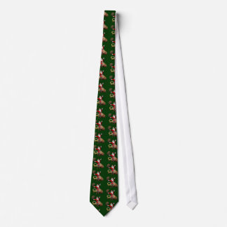 Happy Santa Claus Riding On Colorful Chameleon Tie