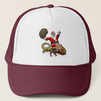 Happy Santa Claus Riding On Colorful Chameleon Trucker Hat
