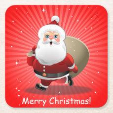 Happy Santa Claus Square Paper Coaster