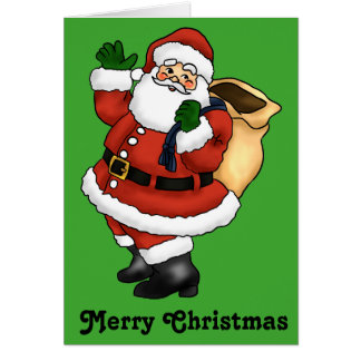 Happy Santa Claus Waving Card