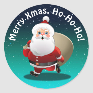 Happy Santa Claus With A Sack Full Of Gifts Classic Round Sticker