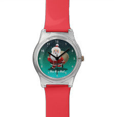 Happy Santa Claus With A Sack Full Of Gifts Wrist Watch