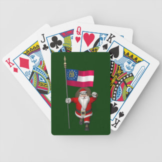 Happy Santa Claus With Flag Of Georgia Bicycle Playing Cards
