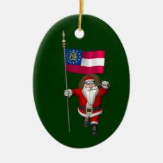 Happy Santa Claus With Flag Of Georgia Ceramic Ornament at Zazzle